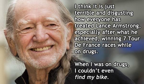 Willie Nelson Posts Brilliant Lance Armstrong Drug Joke On