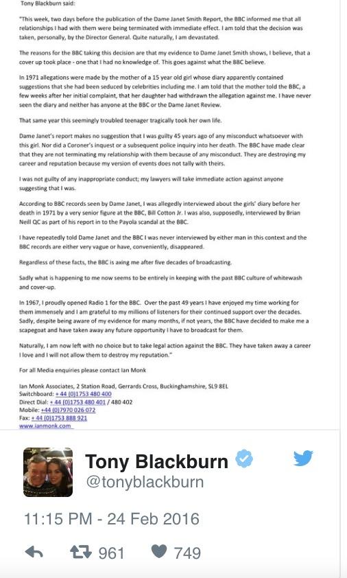 Veteran Dj Tony Blackburn Sacked Amid Links To Saville Pedophilia Disputes Reasoning Supajam News