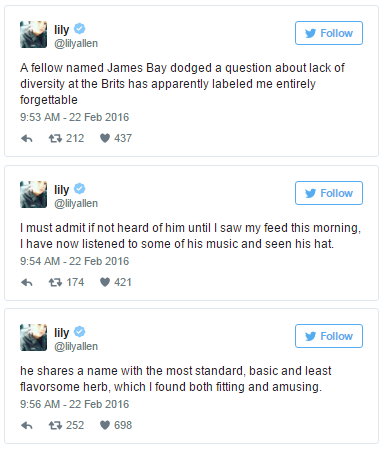 841bf0a042c Lily Allen brands James Bay boring after he takes swipe about her ...